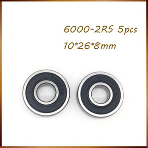 5PCS High quality ABEC 6000 2RS 6000RS 6000-2RS 6000 RS 6000-2RS 10x26x8 10*26*8 mm Rubber seal Deep Groove Ball Bearings