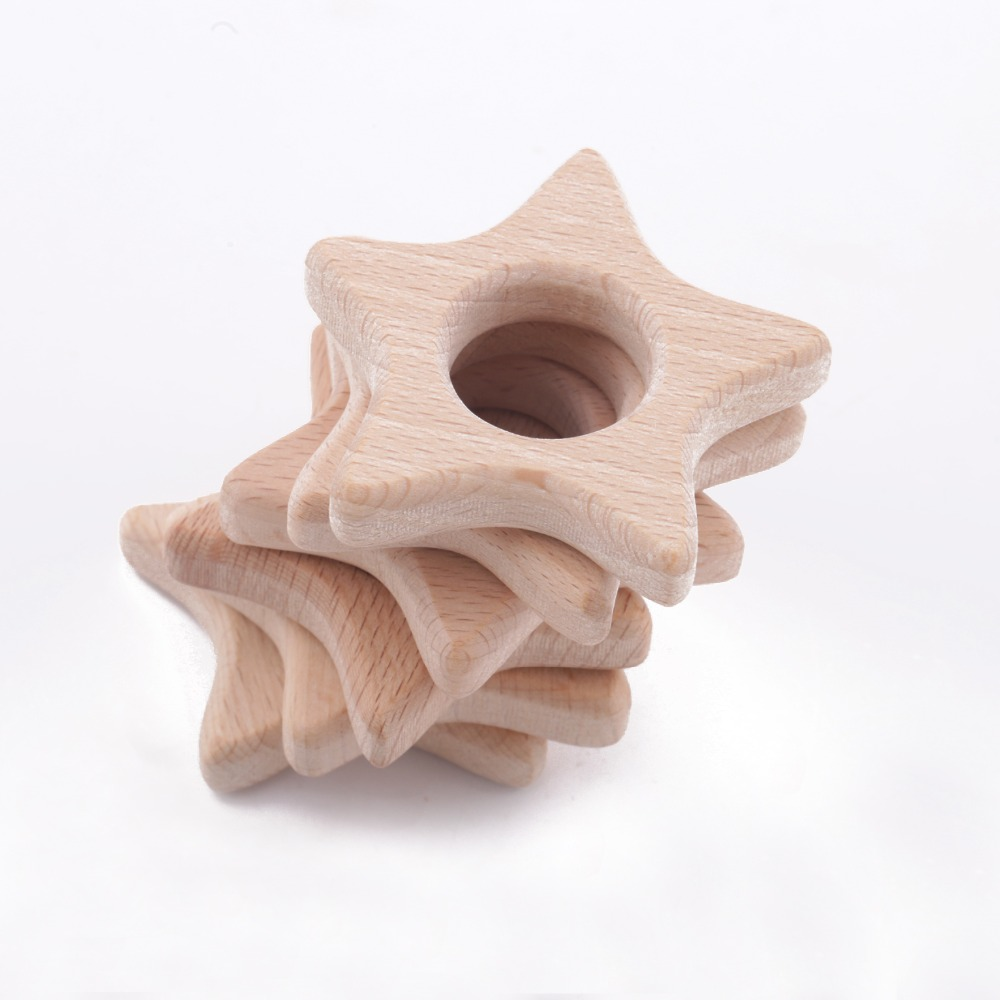 10pc Wooden Stars Teethers Rings Natural Accesory Charms Wooden Beech Wood Star Teething Stroller Inspired Baby Toys Teethers