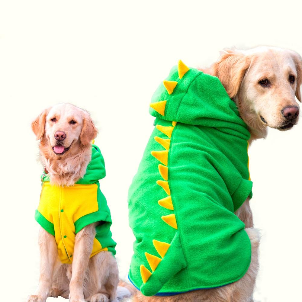 Big large Pet Dog Dinosaur Halloween cosplay costume warm  Fleece winter Dog Clothes jacket  jumpsuit coat for golden retrieve