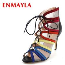 ENMAYLA ファッションセクシーなスチレットヒールパンプス女性マルチカラーレースアップハイヒールグラディエーターサンダルの女性の夏靴