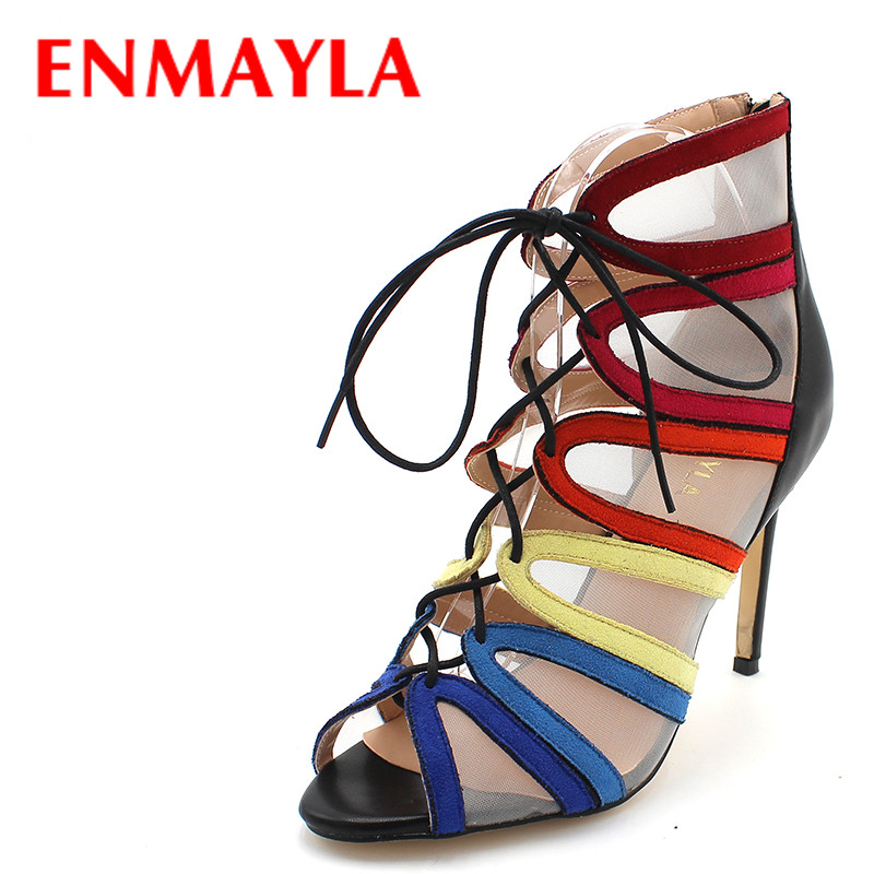 ENMAYLA Fashion Sexy Stiletto Heel Pumps Women Multi Color Lace-up High Heels Gladiator Sandals Women Summer Peep Toe Shoes sexy glossy gold caged party stiletto heel shoes summer ankle boots women peep toe strappy gladiator sandals women party pumps