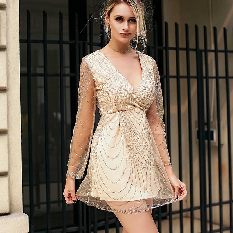 Conmoto dziewczyna 2019 lato Sexy głębokie V cekiny kobiety strój koronkowy z długim rękawem wysokiej talii eleganckie modne sukienek Vestidos