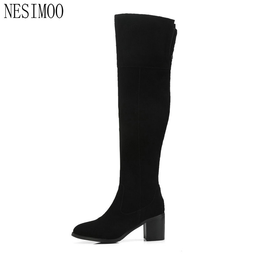 NESIMOO 2019 Women Boots Elegant Sexy Women Over The Knee Boots High Heel Pointed Toe Winter Shoes Woman Boots Size 34-39NESIMOO 2019 Women Boots Elegant Sexy Women Over The Knee Boots High Heel Pointed Toe Winter Shoes Woman Boots Size 34-39