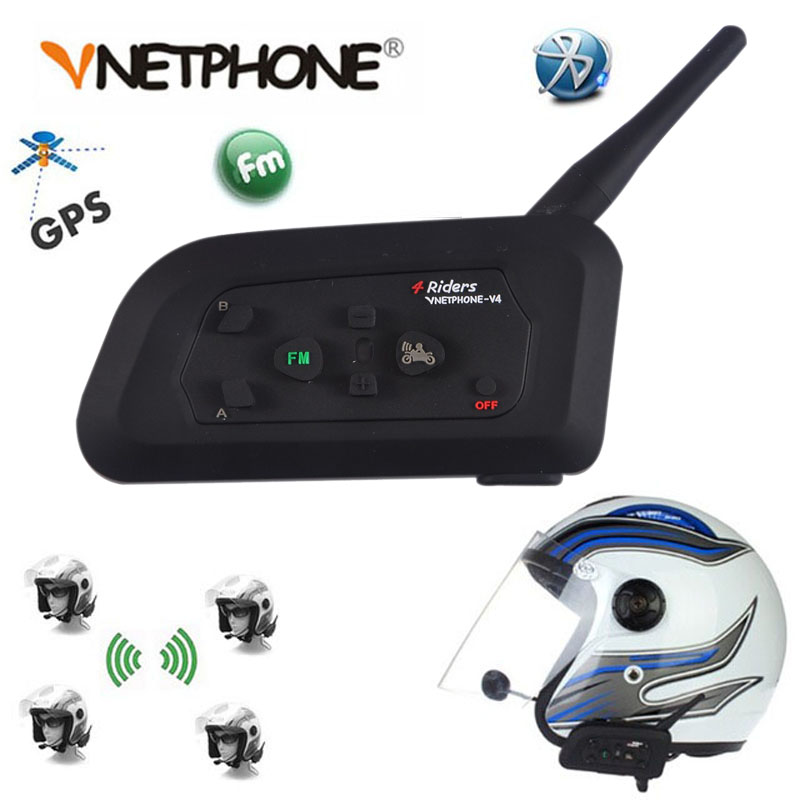 Vnetphone NEW 1200M V4 BT Multi Interphone Bluetooth Intercom Waterproof FM Motorcycle Headphone Helmet Headset Communicator