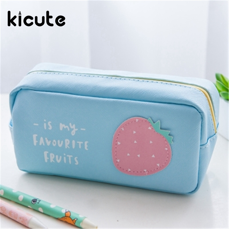 Kicute 1pcs Cute Fruit Pencil Case Beautifully Travel Cosmetic Makeup Bags Pouch Top Quality Office School Supplies for Student цена