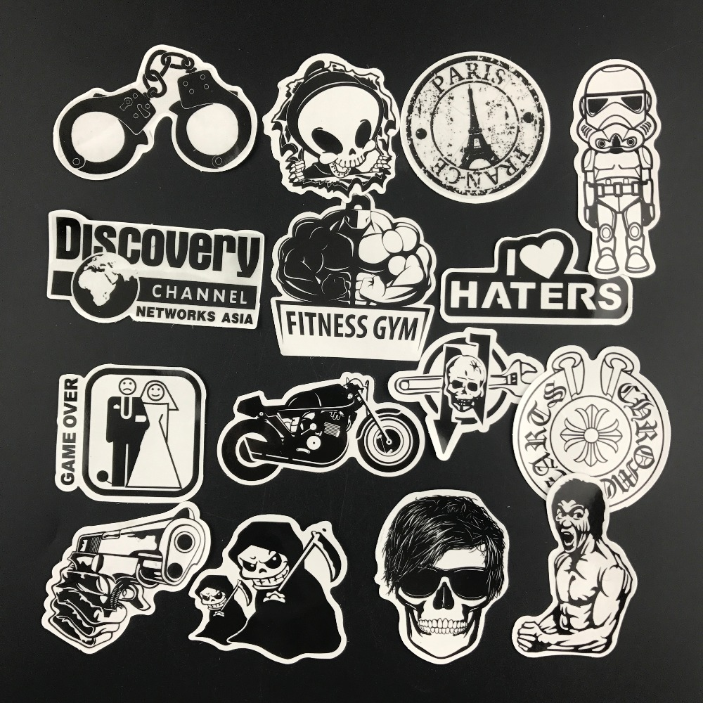 58pcs/lot Black And White Sticker Luggage Skateboard Car Styling Vinyl Deacals Motorcycle Laptop Cool Doodle DIY Stickers