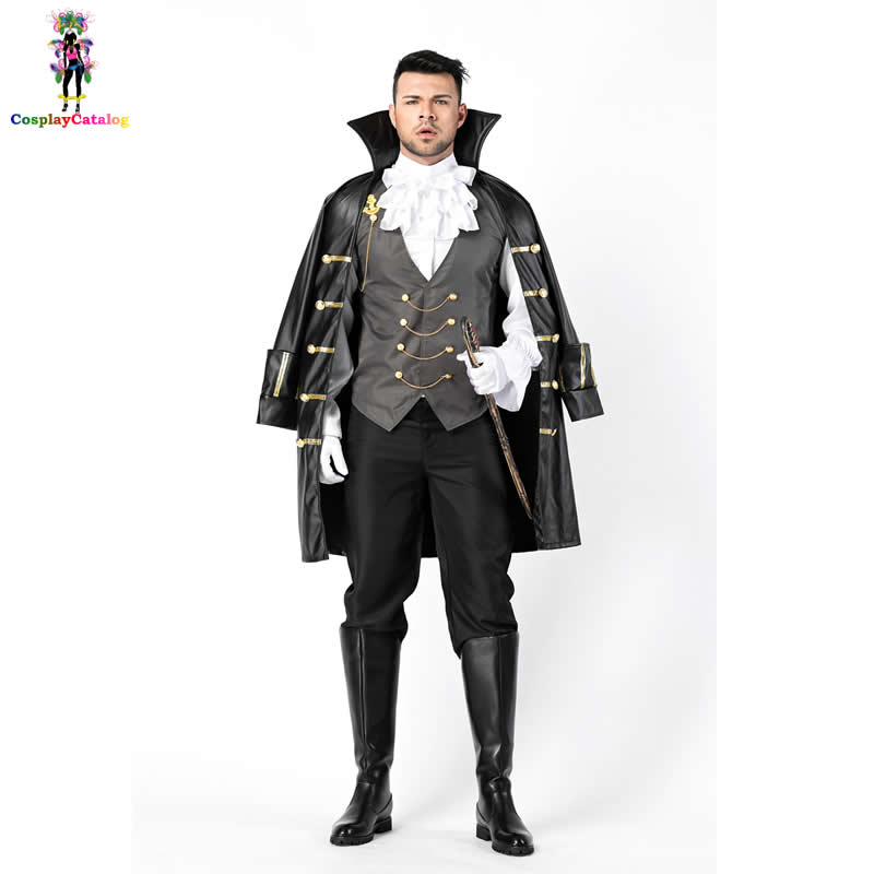 Vampire Count Dracula Costume Halloween Mens Knight Outfit Captain Pirate Uniforms Fantasia Masquerade Earl Costumes