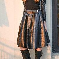 2017 модная женская юбка трапециевидной формы средней длины с поясом из натуральной овечьей кожи до колена черного цвета, большие размеры xxxl