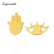 Unique Jewelry Gold Color Hamsa Hand Evil Eye Earrings For Women Brushed Metal Stainless Steel Pendientes Mujer Moda