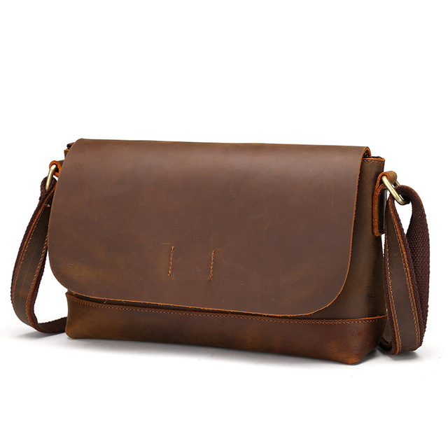 Men s Vintage Style Genuine Cowhide Leather Crossbody Shoulder Sling Bag  Little Handbag Briefcase Pouch For Male Man LS8896 4e22890e5097f