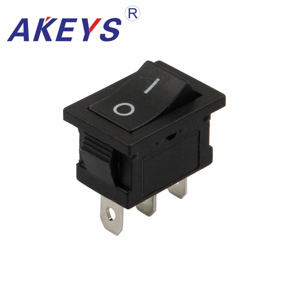 5PCS KCD1 116B 3P 3pins 2gear black rocker switch illuminated square button ship type switch in Switches from Lights Lighting