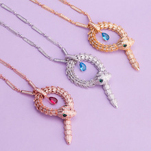 European and American Animal New Female Personality Fashion Yagin Zircon Snake Necklace Long Pendant Accessories