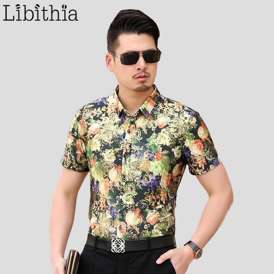 Mens orange green floral shirt slim fit luxury cotton for Mens short sleeve dress shirts