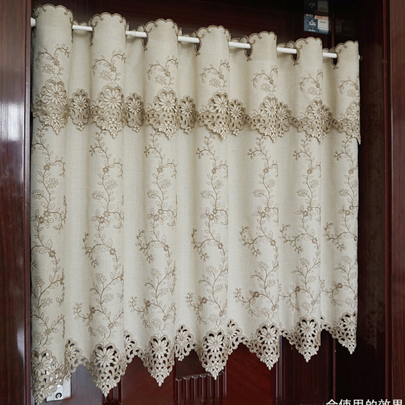 Sunshade Curtain Half-curtain Countryside Flower Embroidered Window Valance Lace Hem Coffee Curtain For Kitchen Cabinet Door