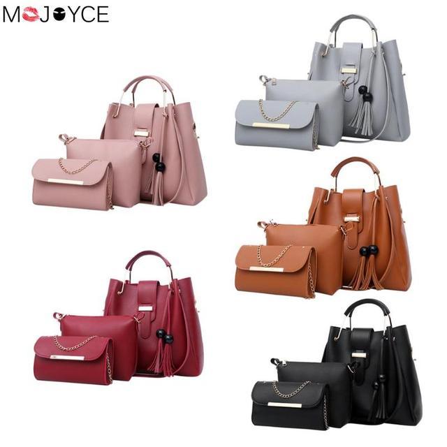 Women 3Pcs Set Handbags PU Leather Shoulder Bags Casual Tote Tassel Metal  Handle Designer Composite Messenger Bag Purse Sac b374ad2c1e527