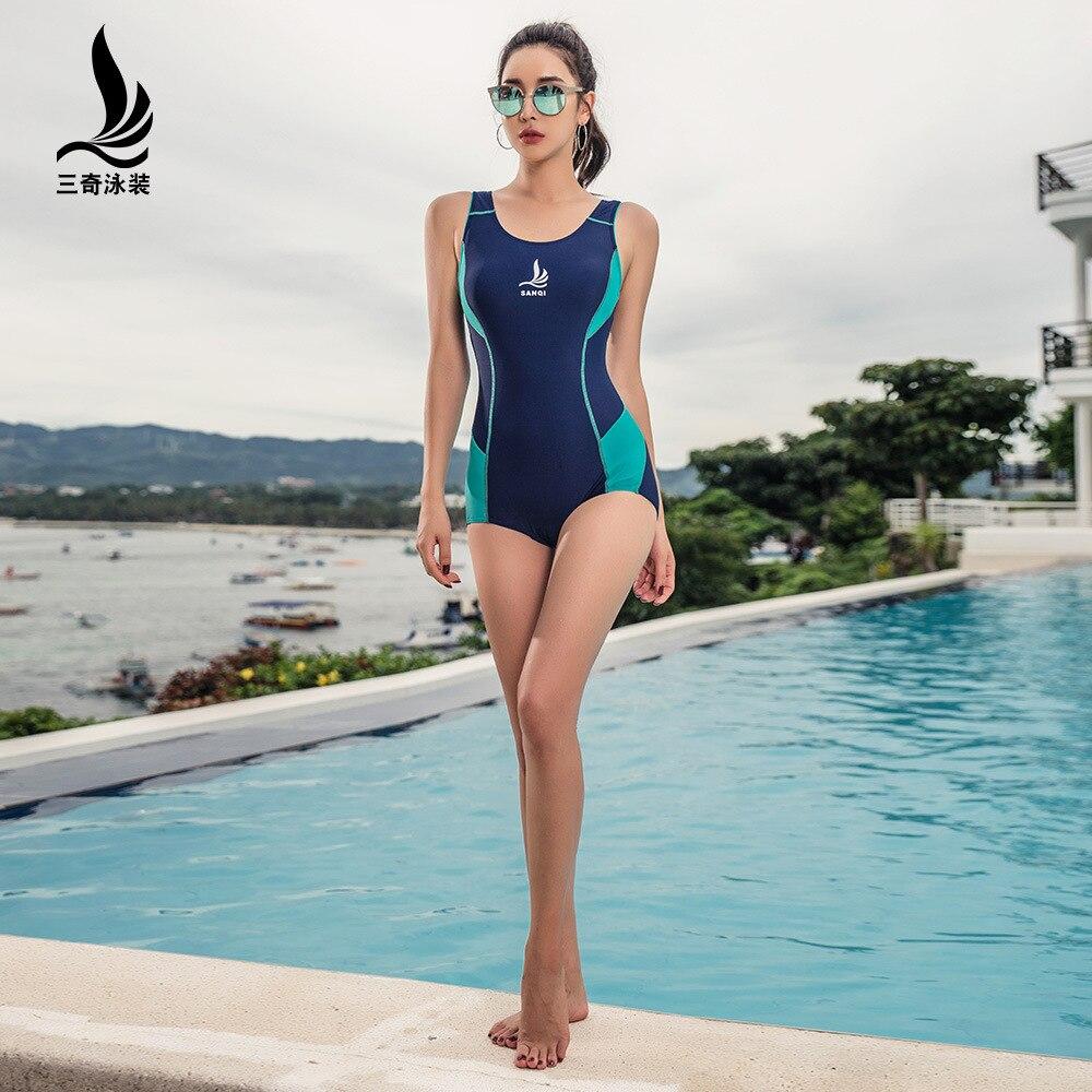 SHANQI maillot de bain femme conservateur joint à Angle plat sport formation pour couvrir un mince rétro printemps chaud maillot de bain