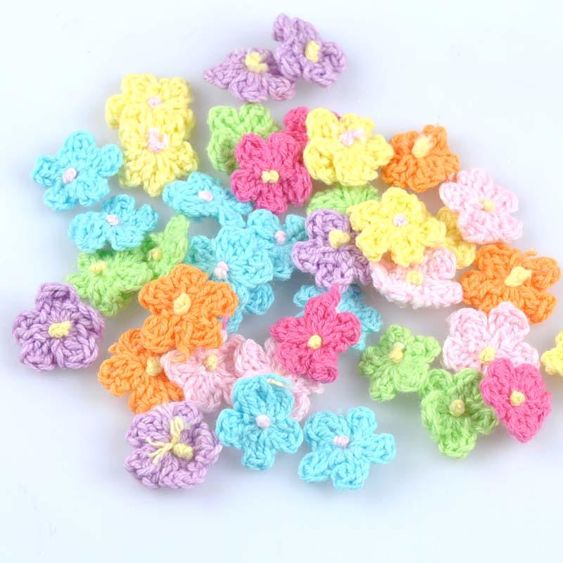Аксессуары для шитья, 30 шт., аппликация ручной работы, вязаные крючком цветы, аппликация для скрапбукинга 16 мм CP1885