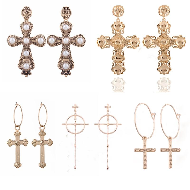 Lalynnlys Gold Metal Cross Drop Earrings Vintage Boho Drop Dangle Earrings for Women Fashion Jewelry Gifts Hot Wholesale E06081