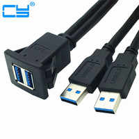 Dual USB 3.0 A Male to Female Snap in Panel Mount Extension Black Cable