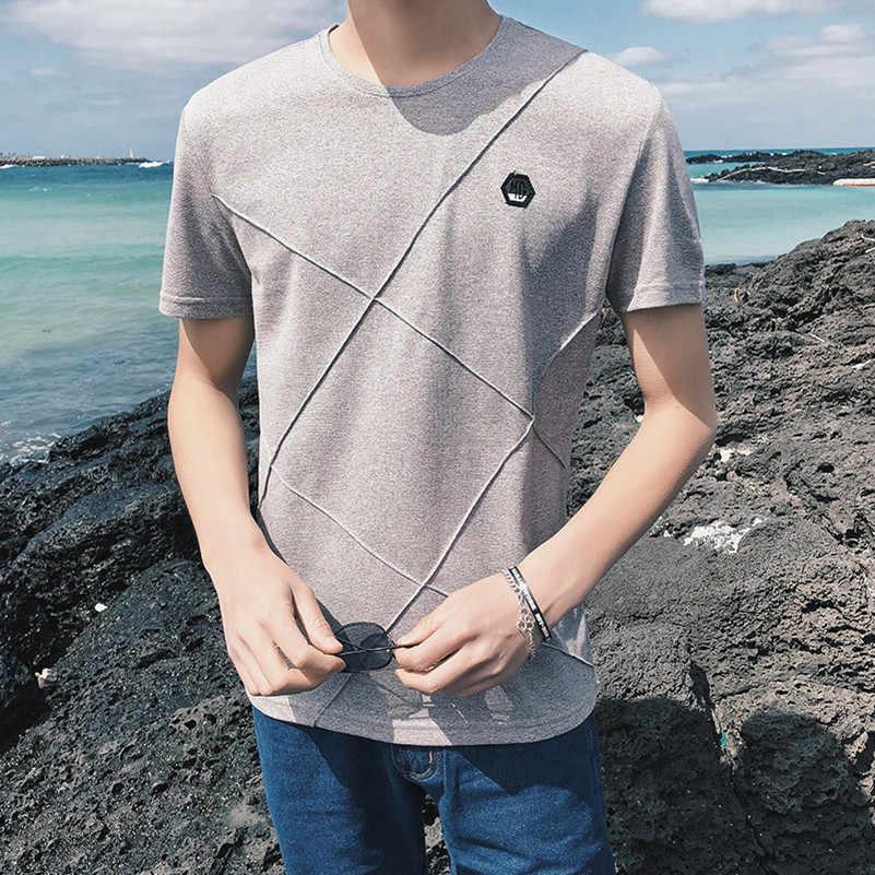VISADA JAUNA パーソナライズ革ラベルデザイン男性 Tシャツ無地半袖 Tシャツスリムラウンドネックメンズ Tシャツ N8905