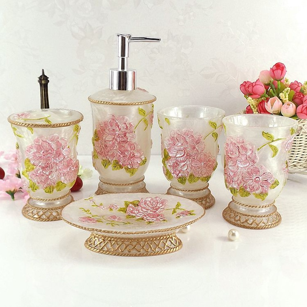 High Quality Art Gift Floral Drawing Bathroom Set Pink/Gold DIY 5 Pcs Bath  Accessory Bath Kit Soap Dish Bottle Toothbrush Holder In Bathroom  Accessories ...