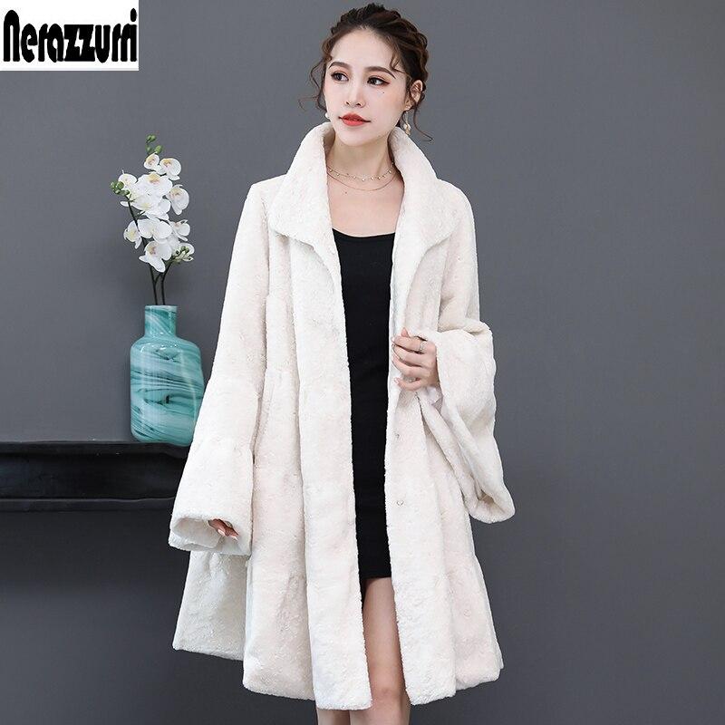 Nerazzurri Luxury runway faux fur coat woman full shirt flare sleeve fluffy faux shearling jacket plus