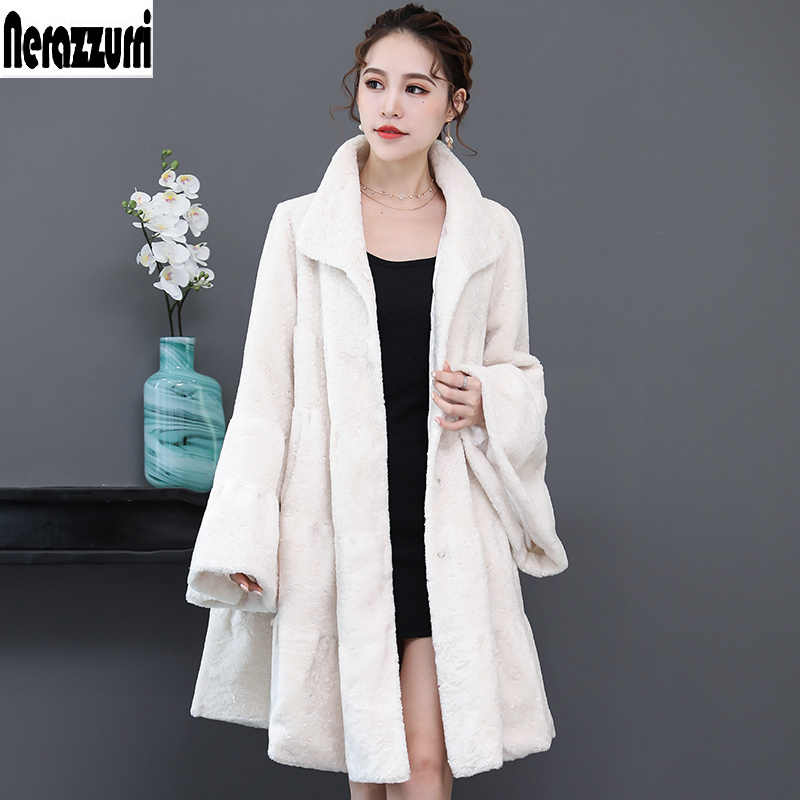 Nerazzurri Luxury runway faux fur coat woman full shirt flare sleeve fluffy faux shearling jacket plus size outwear 5xl 6xl 7xl