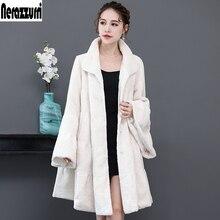 Nerazzurri Luxury runway faux fur coat woman full shirt flare sleeve fluffy faux shearling jacket plus size outwear 5xl 6xl 7xl недорого