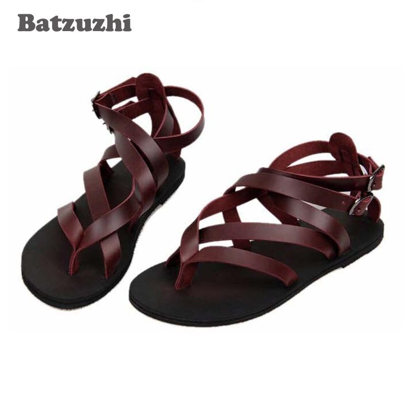 2018 Handmade Men Shoes Genuine Leather Sandal Shoes for Men Summer Outdoor Flip Sandals Rome Gladiator Sandalias Hombre, US10