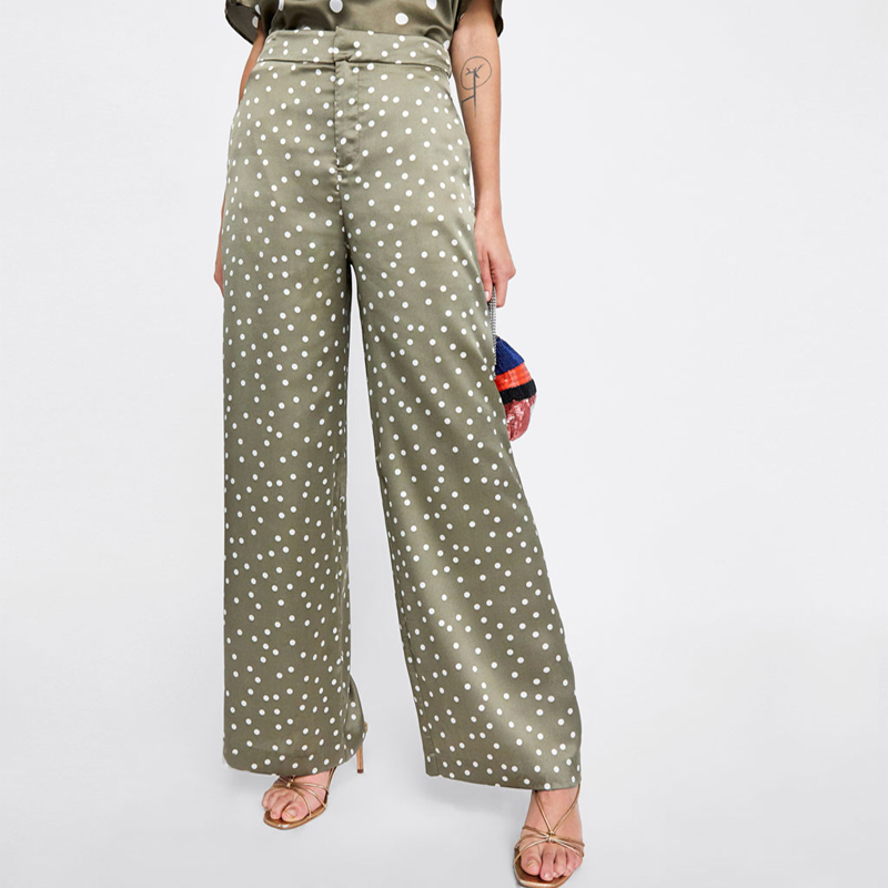 2018 summer female casual   pants   solid color dot print high waist   wide     leg     pants