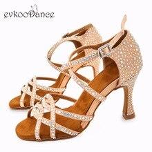Evkoodance Latin Dancing Shoes Khaki Satin With Rhinostone 9-9.5 cm Heel Height Professional Dance For Women Evkoo-520
