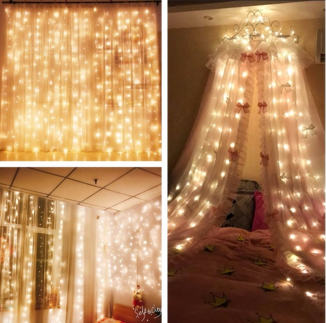 DVOLADOR 300LED room Icicle String Lights Outdoor Holiday Christmas Decorative Wedding xmas Fairy Lights For Party Light