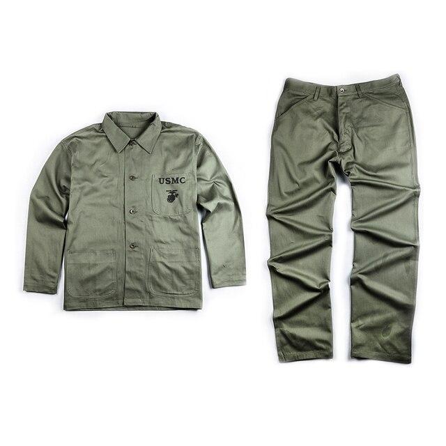 Segunda guerra mundial ee.uu. P44 HBT USMC campo uniforme chaqueta camisa y  pantalones 73fbcccadf5