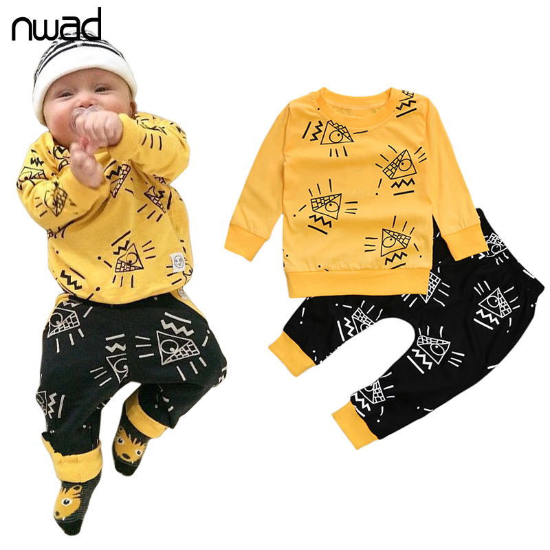 Baby Boys Girls Clothes 2017 New Cotton Cartoon Print Clothing Set For Newborn Baby Costume Suit Long Sleeve Tops+Pant FF372