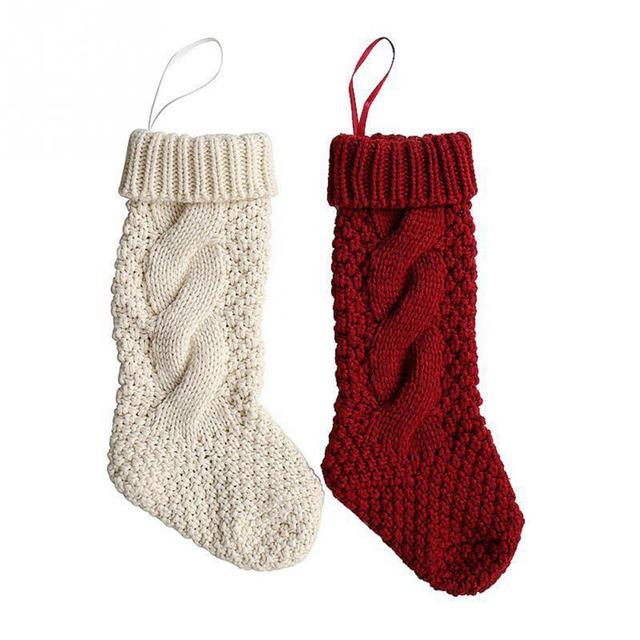 Woolen Yarn Knit Stockings Sack Gift Filler Festival Christmas Xmas Decoration Sock Candy Bag
