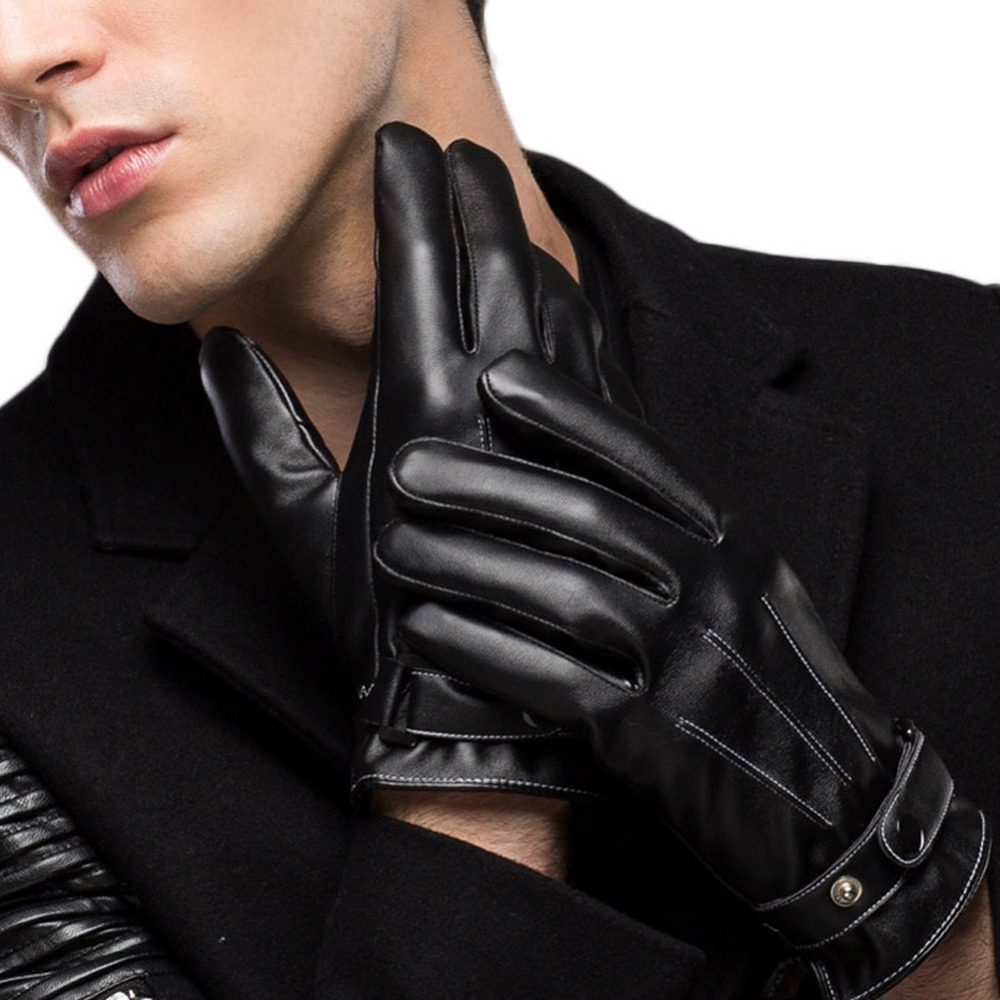 Childrens black leather gloves - Deledelai 2017 New Men Boy Faux Leather Soft Touch Screen Smart Fashion Show Warm Winter New