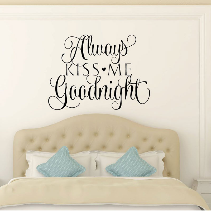 US $7.64 30% OFF|Bedroom Wall Decal Love Wall Decal Quotes Always Kiss Me  Goodnight Vinyl Sticker Bedhead Wall Quotes Vinyl Lettering LV07-in Wall ...