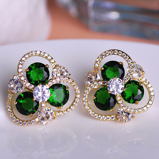 MECHOSEN Designer Ear Piercing Flower Earrings CZ Diamond Mosaic Elaborate Sparkling Ohrring Bijuterias New Year Basket Femme