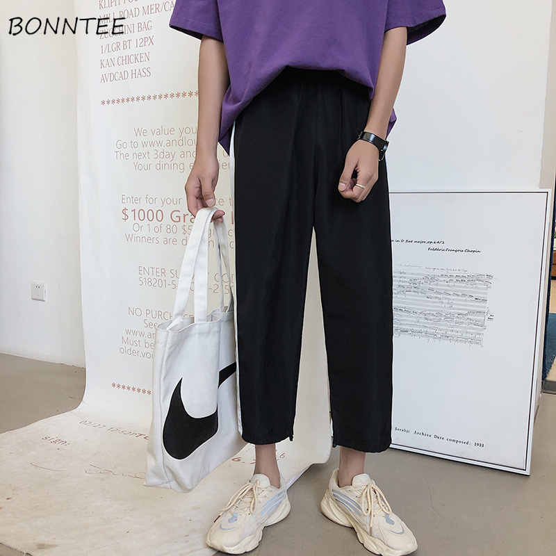 Pants Men Loose Summer Hot Sale Casual Sweatpants Black All Match Mens Ankle-length Males Ulzzang Trousers Straight Drawstring