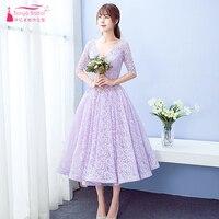 Lavender Lace Homecoming Dresses 2018 Half Sleeve V Neck Lace Up vestidos de graduacion cortos short dress for party ZHM009