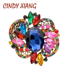 CINDY XIANG Large Crystal Flower Vintage Brooches For Women Elegant Colorful Brooch Pin 6 Colors Available Party Wedding Jewelry cindy xiang purple color crystal flower large brooches for women autumn coat brooch pin elegant beautiful fashion jewelry new