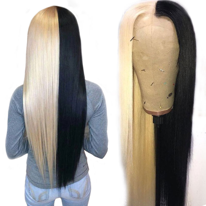 Customized Ombre Lace Front Human Hair Wig Half Black Half 613 Brazilian Straight Lace Front Wig