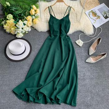 2019 sexy long dresses casual summer backless Women dinner elegant Solid color Beach Strap Party Maxi Female Vestidos
