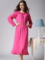 Women's long-sleeve nightgown long design 100% cotton princess dress sweet laciness lounge lengthen loose plus size sleepwear
