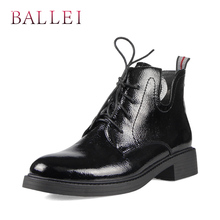BALLEI Classic Woman Ankle Boots Luxury Genuine Leather Soft Square Heels Fashion Lace-up Shoes Warm Short Plush Solid B9