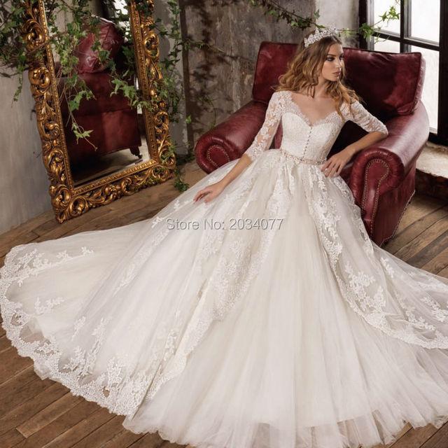 Estremamente Vestito da sposa Principessa Una Linea Abito Da Sposa In Pizzo  CB97