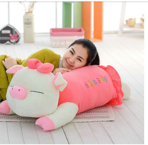 big lovely plush pink pig toy stuffed lying pig pillow doll gift about 70cm big plush whale toy big head white foam dolphin doll pillow gift about 70cm