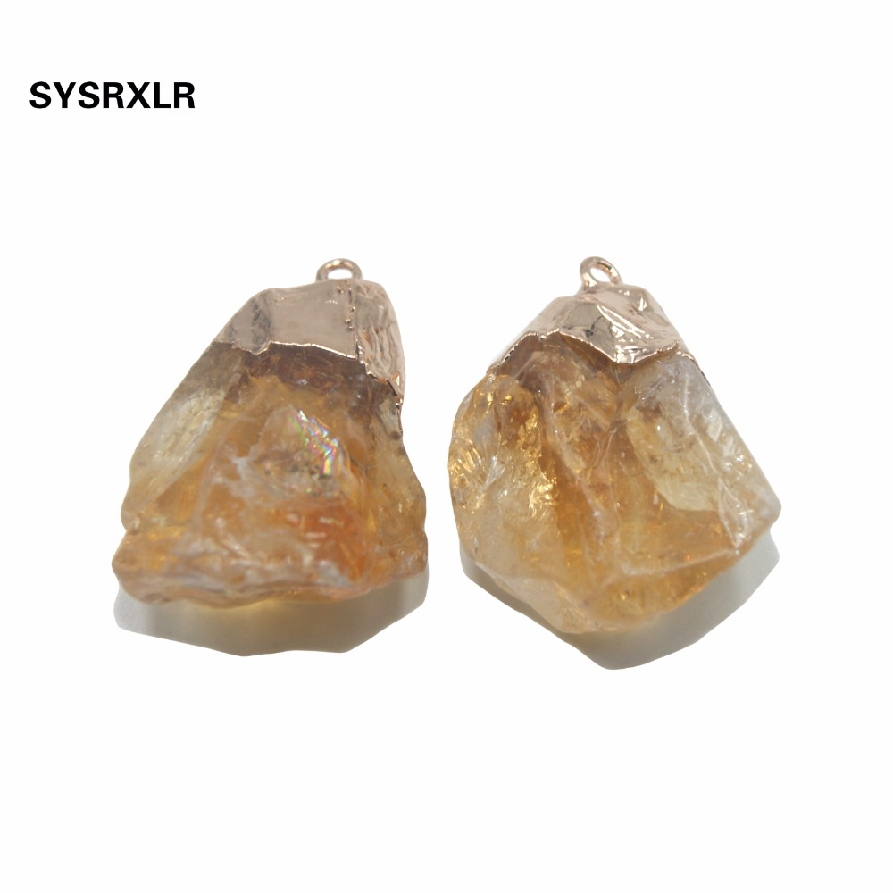 Wholesale Irregular Natural Yellow Crystal Pillar Unique Golden Plated Pendant Charm DIY Necklaces For Jewelry Making