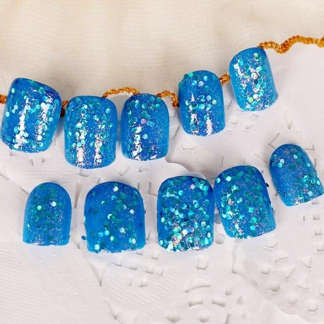 24pcskit Blingbling Dark Blue Pre Designed Nail Tips Short Square