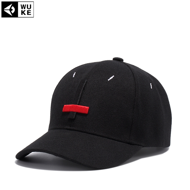 46a95f499e36a Wuke 2017 New Brand Street Dance Cool Caps Embroidery Black Red Cross  Baseball Caps Men Hats